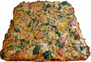 Full Three Cheese Spinach with Tomato and Onion Pizza