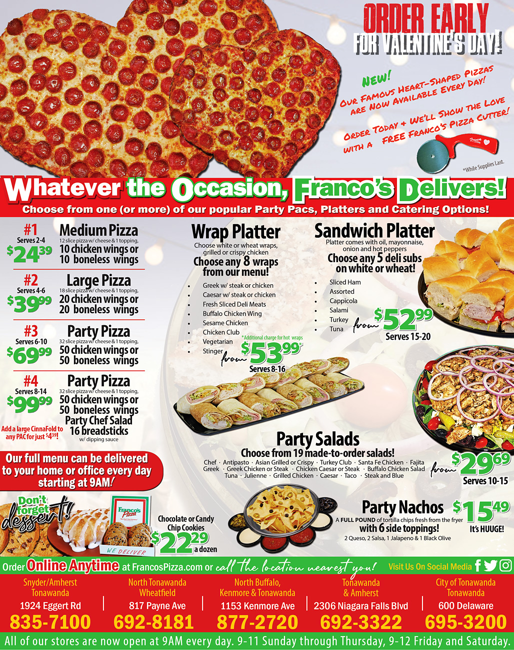 Franco's Pizza Catering Menu - Pizza, wings, wraps, subs, salads & more!